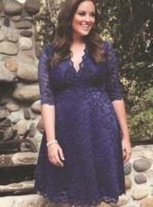 Kiyonna 1x Purple A-line Lace classic party dress